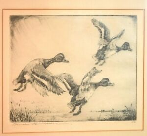 Bensen Bond Moore Etching of Geese in Flight Titled