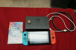 Nintendo Switch Console- Black with Neon Blue and Neon Red Joy-Controller BUNDLE
