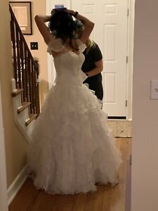 WHITE LACE MARY'S STYLE BRIDAL GOWN WEDDING DRESS SIZE 10
