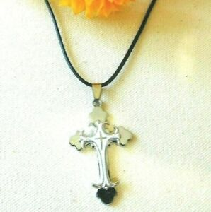 Necklace Cross Jesus Crucifix Silver Tone Pendant US Seller Stock NEW $5.50
