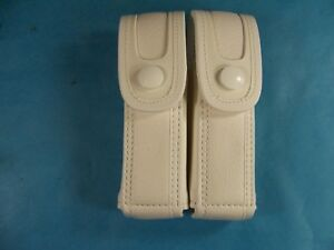 Military Surplus White Leather Double Mag Magazine Belt Pouch Pistol Ammo Mag