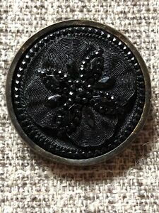Antique LACY BLACK GLASS BUTTON Beautiful Embossed Flower Pattern Metal Rim