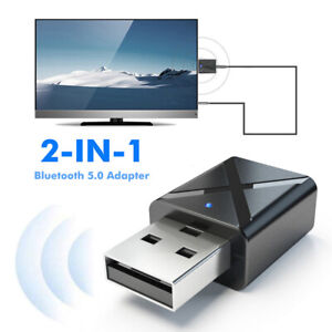 US 2 in 1 USB Bluetooth 5.0 Transmitter Receiver AUX Audio Adapter for TVPCCar