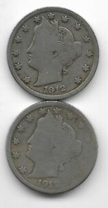 Rare 100 Years Old 1912D+P US Liberty Nickel Collection Coin Antique Lot USA:Y61
