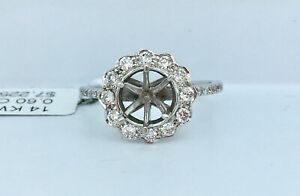 .60 ct NATURAL DIAMOND semi mount halo ring 14k white GOLD (center: 6 mm round)