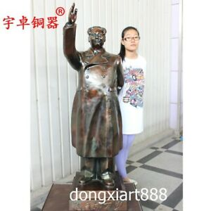 1.4 m Chinese Red Revolution Great Man Chairman Mao Zedong Bronze Amulet Statue