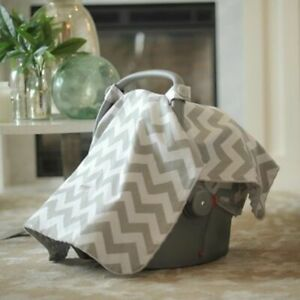 Carseat Canopy Infant Carseat Cover shevron geometric pattern gray white