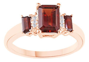 Christmas Special Garnet Three Stone Band Ring 18K Rose Gold Plated