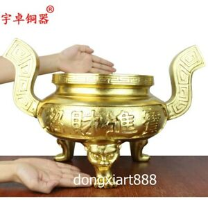 62 cm China Pure copper Gold Wealth Dragon Ding Incense Burners censer incensory