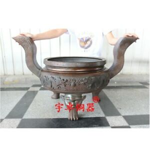 97.5 cm Chinese Bronze foo dog lion leg Dragon Incense Burners censer incensory