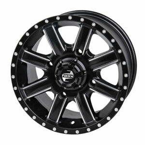 4137 Tusk Cascade Wheel 14x7 5.0 + 2.0 MachinedBlack - Fits: Suzuki TWIN PEAKS
