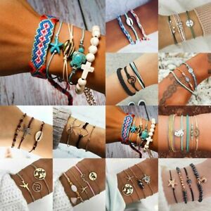 Boho Handmade Rope Weave Bracelet Set Women Beach Tassel Heart Bow Shell Bangle