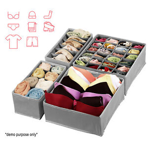 4PCS Sock Underwear Closet Bins Breathable and Mold-proof Divider Storage Box US