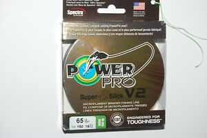 power pro braided fishing line super 8 slick V2 65lb 150yd spool hi vis aqua