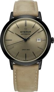 Eterna Men's 2700.43.90.1392 Eternity 40mm Automatic Black PVD Leather Watch