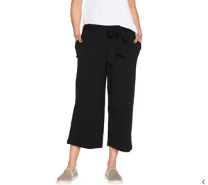 AnyBody Cozy Knit Wide Leg Cropped Pants Black Medium NEW A302402