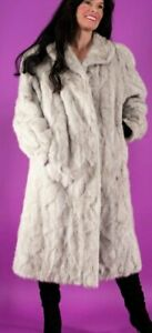 Sale Beautiful Silver Mink Fur Jacket Coat Round Collar A-Line Excellent Cond
