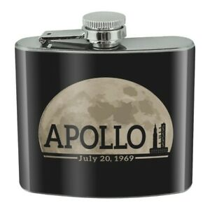 NASA Apollo 11 Moon with Saturn V Stainless Steel 5oz Hip Drink Flask