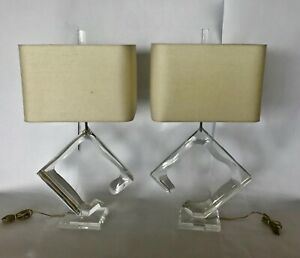 Pair Signed Van Teal Lucite Lamps Excellent Condition Sculptural $415.00