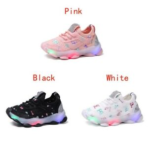 Kids Boys Girls Running Shoes Flashing Light Up LED Trainer Sneakers Toddler US