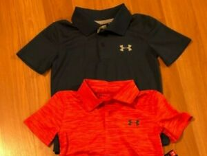 Under Armour Boys Sz 4, 5 or 7 Polo Shirt, Solid Blue or Red Thin Stripes $14.99