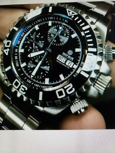 DEEP BLUE MASTER CHRONO 7750 AUTOMATIC DIVER BLACK 10 YEAR ANNIVERSARY EDITION