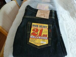 NEW JAPAN MADE IRON HEART JEANS 634S 21oz 34x34 One Wash Selvedge Jeans