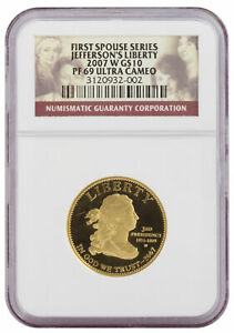 2007-W First Spouse Gold Proof Jefferson's Liberty PF69 NGC - First Spouse Se...