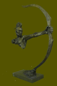 BRONZE MOHAWK CHIEF SCULPTURE STATUE ARROW BOW INDIAN CHIEF SCOUT WARRIOR SALE