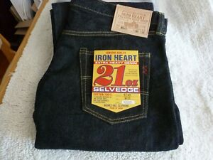 NEW JAPAN MADE IRON HEART JEANS 634S 21oz 38x36 One Wash Selvedge Jeans