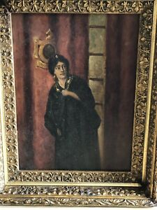 Antique Oil On Canvas Painting Of Victorian Lady $375.00