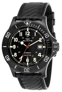 Glycine GL0244 Combat Sub 42 Automatic 42mm Black PVD Watch Carbon Fiber Watch