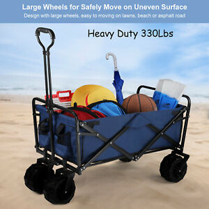 330Lbs Collapsible Folding Outdoor Utility Wagon Heavy Duty Garden Beach Cart