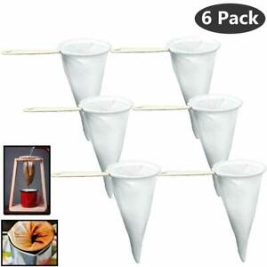 6 Spanish Colador de Cafe Coffee Strainer Filter Cloth Mesh with Plastic Handle