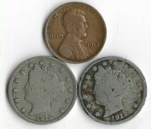 Rare 100 Year Old 1912D&P Liberty Nickel Penny Collection Coin Antique Lot:Q65