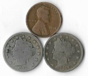 Rare 100 Year Old 1912D&P Liberty Nickel Penny Collection Coin Antique Lot:Q68