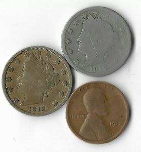 Rare 100 Year Old 1912D&P Liberty Nickel Penny Collection Coin Antique Lot:Q74