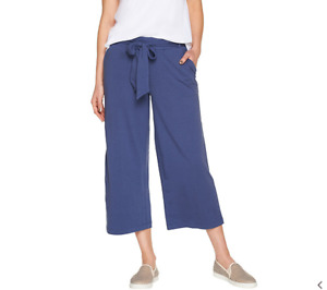 AnyBody Cozy Knit Wide Leg Cropped Pants Indigo Medium NEW A302402