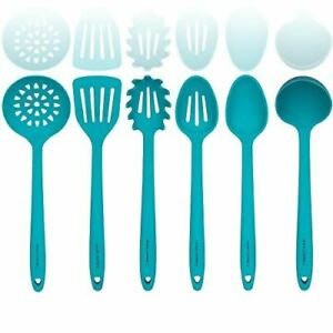 Silicone Cooking Utensil Sets- Sturdy Steel Core - Slotted Mixing Spoons Ladle