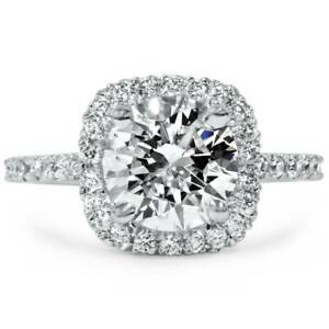 1 34 CT Cushion Halo Diamond Engagement Ring Round G-SI 14K White Gold Enhanced
