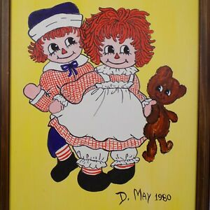 Vintage Raggedy Ann Andy Original Painting 21quot; x 27quot; Wood Frame Signed D May $25.00