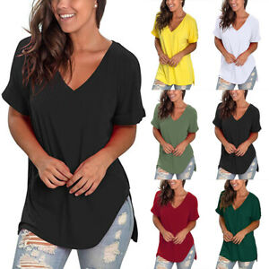 Womens Loose Fit Short Sleeve T Shirt V-Neck Casual Basic Tunic Top Long Blouse