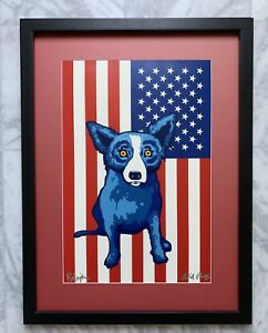 Stars and Stripes Forever Original Blue Dog Silkscreen by George Rodrigue signed