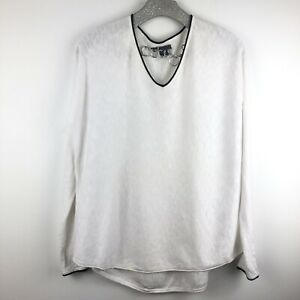 Vince Long Sleeve Knit Top White Small V Neck Shirt