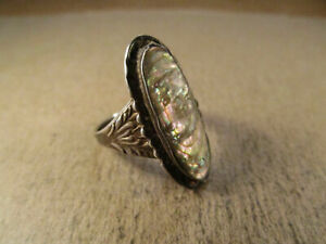 Antique Sterling Silver & Abalone Ring, Unsigned, Size 7, 4.8g