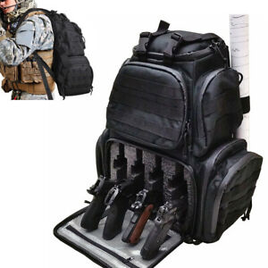 Reinforced Backpack Tactical Range Bag Handgun Firearm Pistol Accessory Bag Case