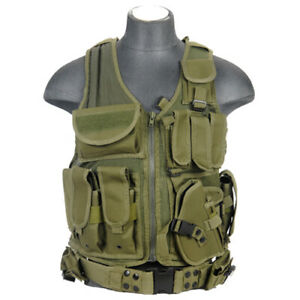 LANCER TACTICAL CROSS DRAW ADJUSTABLE MOLLE VEST Combat Military Airsoft Green