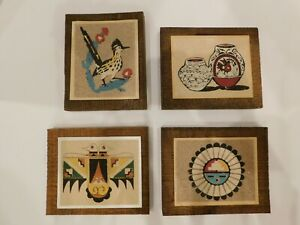 Vintage 4 Native American Indian Rainbow Way New Mexico Sand Picture Rare Art