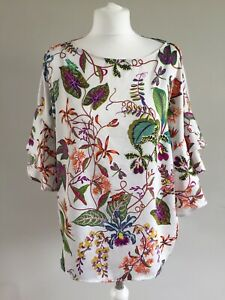 H&M Tropical Floral Print Top Size 14 Summer Floaty Sleeves Flowers Dragonfly