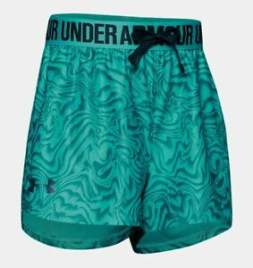 Under Armour Girl's Play Up Shorts -Blue & Teal -Youth X Small-1341126-401- NEW!